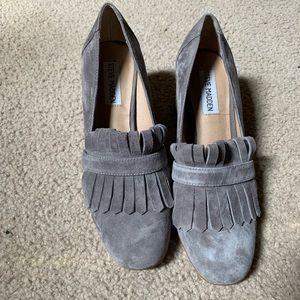 Server Madden Kate fringe grey suede heels size 7